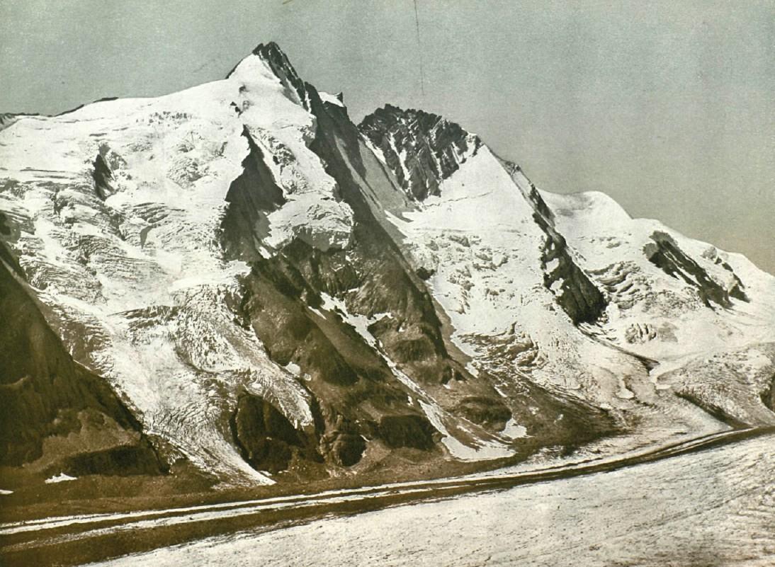 Виды Австро-Венгрии. Тироль. Вершина Гроссглокнер в горной цепи Высокий Тауэрн.