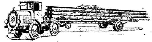 Рис. 28. 80-сильный тягач «N. A. G.» с прицепной платформой для перевозки рельс. Грузоподъемность 4-10 т.