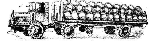 Рис. 27. 80-сильный тягач «N. A. G.» с прицепной платформой для перевозки бочек.