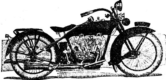 Рис. 4. Мотоцикл «Harley-Davidson» (С. Ш.) с двухцилиндровым двигателем.