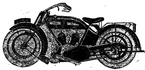 Рис. 3. Мотоцикл «B. S. A.» (Англия) с двухцилиндровым двигателем.