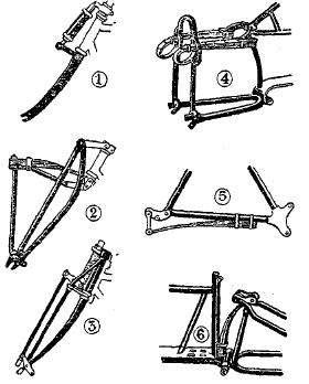 Рис. 1З. Системы амортизации мотоциклетной рамы — передней вилки (1, 2, 3) и задней части рамы (4, 5, 6).