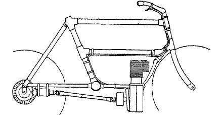 Рис. 11. Схема передачи работы двигателя заднему колесу карданом.